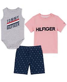 Tommy Hilfiger Baby Boys 3-Pc. Bodysuit, T-Shirt & Shorts Set