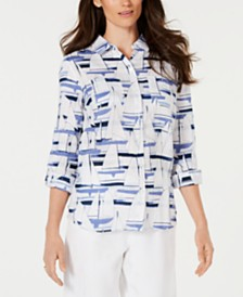 Charter Club Linen Printed Roll-Tab Top, Created for Macy's