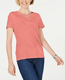 Cotton Embellished Keyhole Top, Created for Macy's