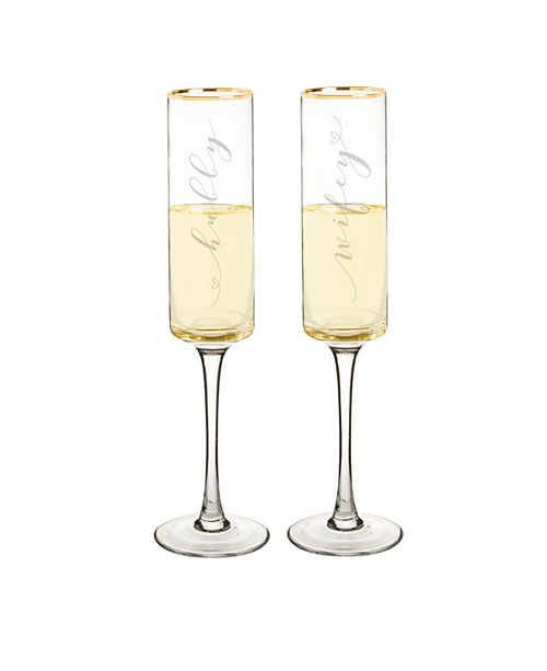 Cathy's Concepts Hubby & Wifey 8 oz. Gold Rim Contemporary Champagne Flutes