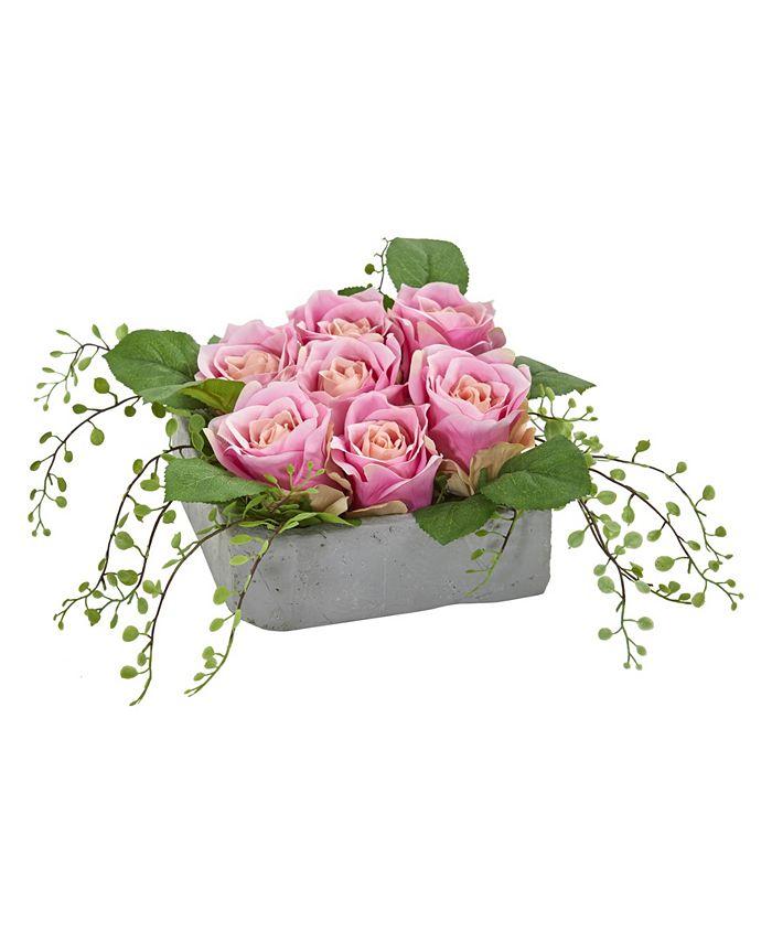 Nearly Natural - Rose Artificial Arrangement in Square Ceramic Vase