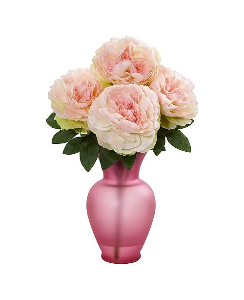 Nearly Natural Peony Artificial Arrangement in Rose Garden Vase