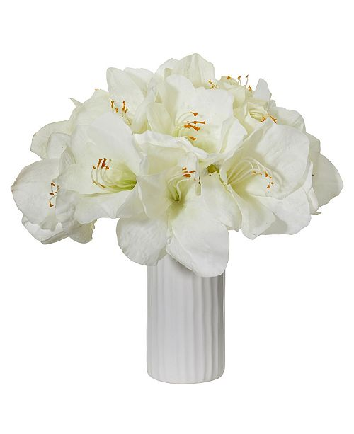 Nearly Natural Amaryllis Artificial Arrangement in White Vase