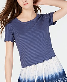 American Rag Juniors' Crochet-Trimmed Rib-Knit Top, Created for Macy's