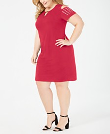 JM Collection Petite Plus Size Studded Cold-Shoulder Dress, Created for Macy's