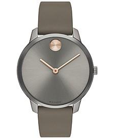 Women's Swiss BOLD Taupe Nappa Leather Strap Watch 35mm