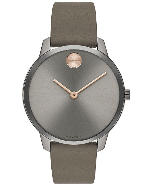 Movado Women's Swiss BOLD Taupe Nappa Leather Strap Watch 35mm