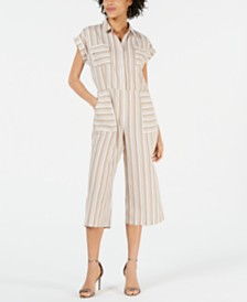 Monteau Petite Striped Utility Jumpsuit