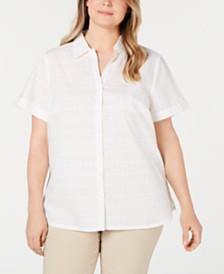 Karen Scott Plus Size Cotton Eyelet Short-Sleeve Button-Up Shirt, Created for Macy's