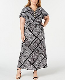 Plus and Petite Plus Size Embellished Printed Maxi Dress