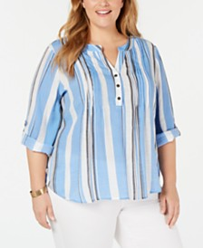 NY Collection Plus Size Striped Roll-Tab-Sleeve Top