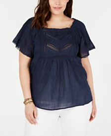 Lucky Brand Plus Size Cotton Embroidered Flutter-Sleeve Top