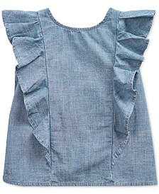 Polo Ralph Lauren Big Girls Ruffled Indigo Cotton Chambray Top