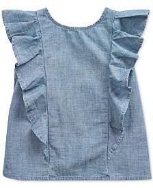 Polo Ralph Lauren Little Girls Ruffled Indigo Cotton Chambray Top