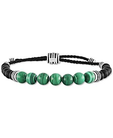 Malachite (8mm) & Onyx (6mm) Bolo Bracelet in Sterling Silver, Created for Macy's