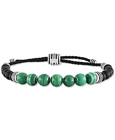 Esquire Men's Jewelry Malachite (8mm) & Onyx (6mm) Bolo Bracelet in Sterling Silver, Created for Macy's