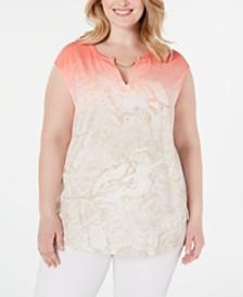 Calvin Klein Plus Size Printed Cap-Sleeve Top