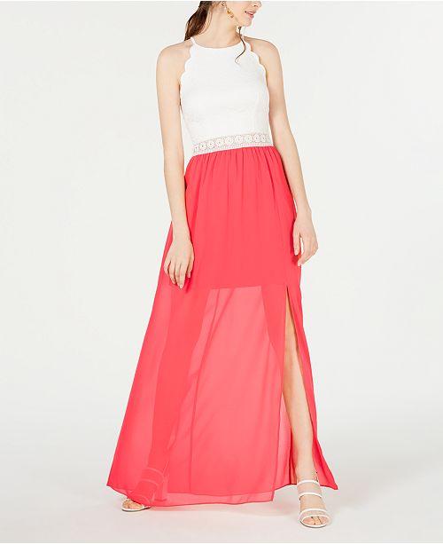 BCX Juniors' Scalloped Lace & Chiffon Maxi Dress