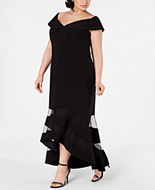 Plus Size Off-The-Shoulder High-Low Gown