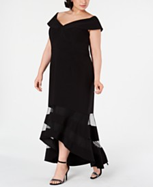 XSCAPE Plus Size Off-The-Shoulder High-Low Gown