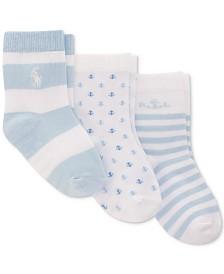 Polo Ralph Lauren Baby Boys 3-Pk. Anchors Away Flat-Knit Crew Socks