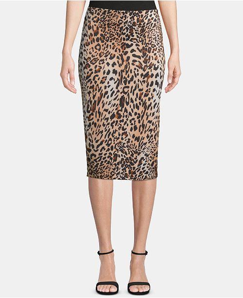 ECI Animal-Print Pull-On Skirt