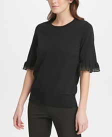 DKNY Ruffled-Sleeve Sweater