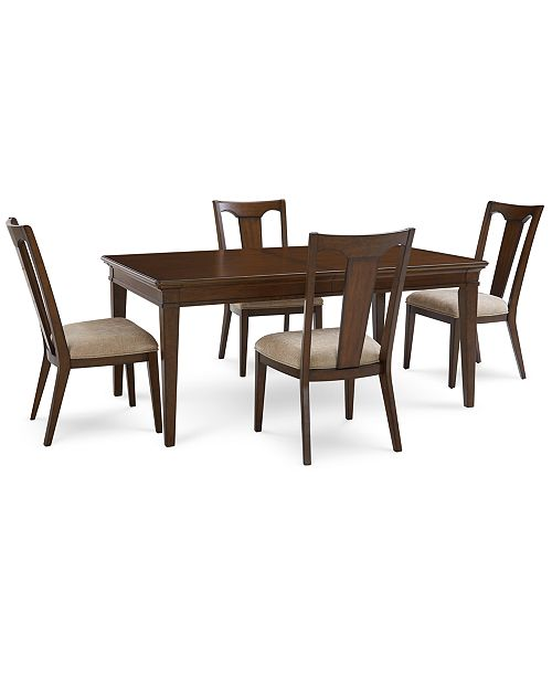 Furniture Matteo Dining Furniture, 5-Pc. Set (Table & 4 Slat Back Upholstered Side Chairs), Created for Macy's