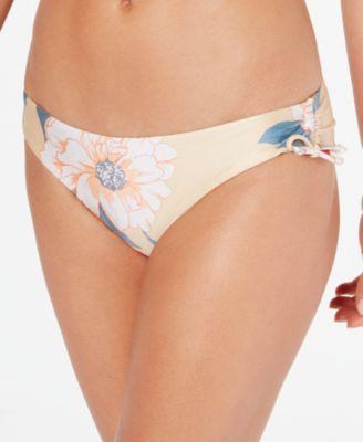Juniors' Printed Tie-Side Cheeky Bikini Bottoms