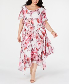Robbie Bee Plus Size Floral-Print Draped Midi Dress
