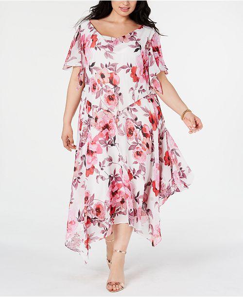 Robbie Bee Plus Size Floral-Print Draped Midi Dress