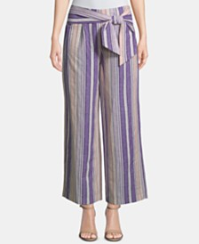 ECI Striped Tie-Waist Ankle Pants