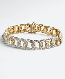 Men's Diamond Link Bracelet (1 ct. t.w.) in Sterling Silver & 14k Gold-Plate