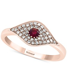 EFFY® Certified Ruby (1/6 ct. t.w.) & Diamond (1/5 ct. t.w.) Evil Eye Ring in 14k Rose Gold