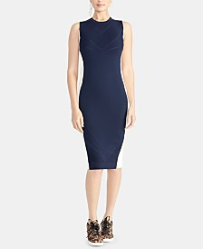 RACHEL Rachel Roy Penelope Mixed-Stitch Sleeveless Bodycon Sweater Dress