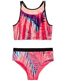 Ideology Big Girls Palm-Print Swim Separates, Created for Macy's