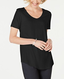 JM Collection Petite Lattice-Back V-Neck Top, Created for Macy's