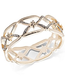 Gold-Tone Pavé Openwork Bangle Bracelet