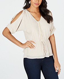 Gauze Cold-Shoulder Peplum Top, Created for Macy's