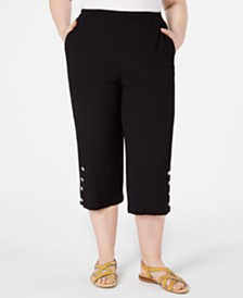 JM Collection Plus Size Button-Hem Capri Pants, Created for Macy's