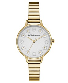 Ladies Gold Bracelet Watch with Floral Dial Accents