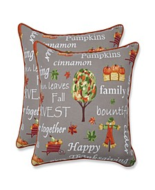 "Autumn Harvest 18.5"" Square Indoor/Outdoor Decorative Pillow 2-Pack"