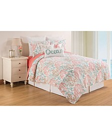 Oceanaire Sea foam Full Queen Quilt Set