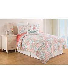 Oceanaire Sea foam Full Queen Quilt Set