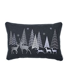 Christmas Forest Scene Lumbar Pillow