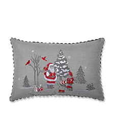 Santa Christmas Scene Lumbar Pillow