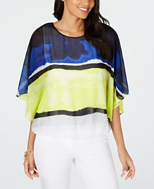 Alfani Colorblocked Wing-Sleeve Bubble-Hem Blouse, Created for Macy's