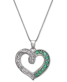 "Emerald (1/2 ct. t.w.) & Diamond Accent Heart 18"" Pendant in Sterling Silver"