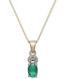 "Emerald (1/2 ct. t.w.) & Diamond Accent 18"" Pendant Necklace in 14k Gold"