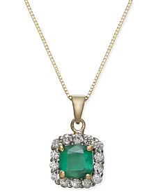 "Emerald (1 ct. t.w.) & Diamond (1/4 ct. t.w.) Halo 18"" Pendant Necklace in 14k Gold"